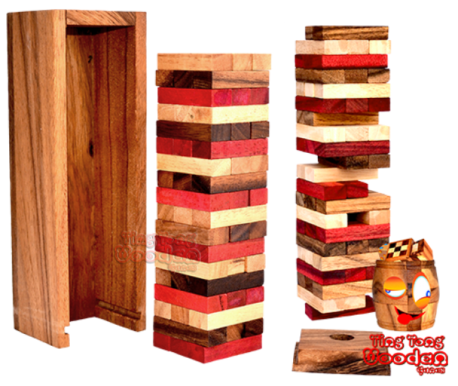 wobbly tower colour the wobbly tower in colour with dice exciting wooden game Thailand