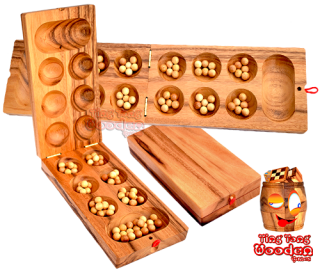 Mancala Kalaha large strategy wooden box with wooden balls made of monkey pod wood Thailand