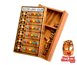 Mastermind, super brain, wood logic game with super color code wooden box from monkey pod Thailand