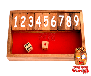 Shut the box the flap game or Jackpot Jumbo as a small travel version with dice wooden game Thailand