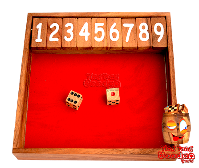 Shut the Box the dice game Jägermeister drinking game made of wood up to the number 9 Klappenspiel wooden game Thailand
