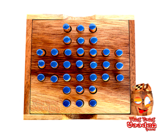solitaire steckhalma wooden game box small for travel and on the way monkey pod thailand