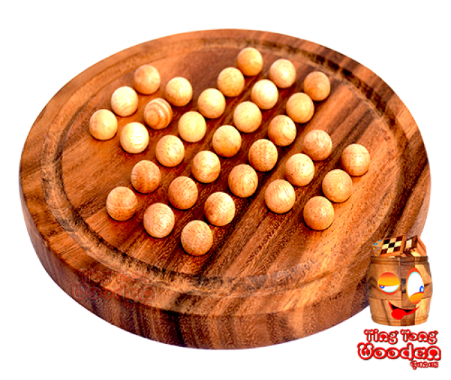 solitaire round wooden playing board medium with wooden balls from monkey pod wood Thailand