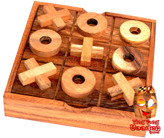tic tac toe strategy game in wooden box xo or wooden cheese box monkey pod Thailand