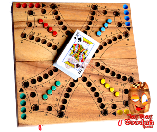 Tock Tock Dog Game entertainment game for 2 teams or 4 single players. Foldable game board from monkey pod wood thailand