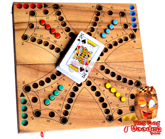 Tock Tac Dog Game entertainment game for 2 teams or 4 single players. Foldable game board from monkey pod wood thailand