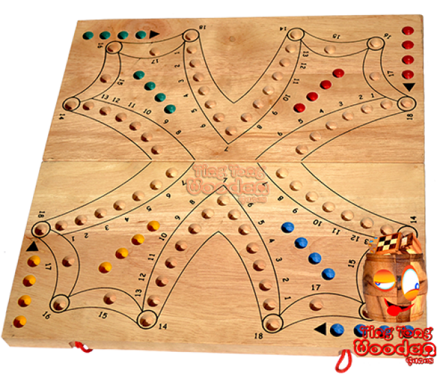 tock tock dog as a big game board from monkey pod wood for 4 players or 2 teams thai wooden games