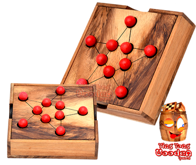 pythagore star strategy box solitaire monkey pod wooden game Thailand