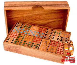 Domino 9 large Box with 56 Dominosteinen in design Monkey Pod wooden box games Thailand