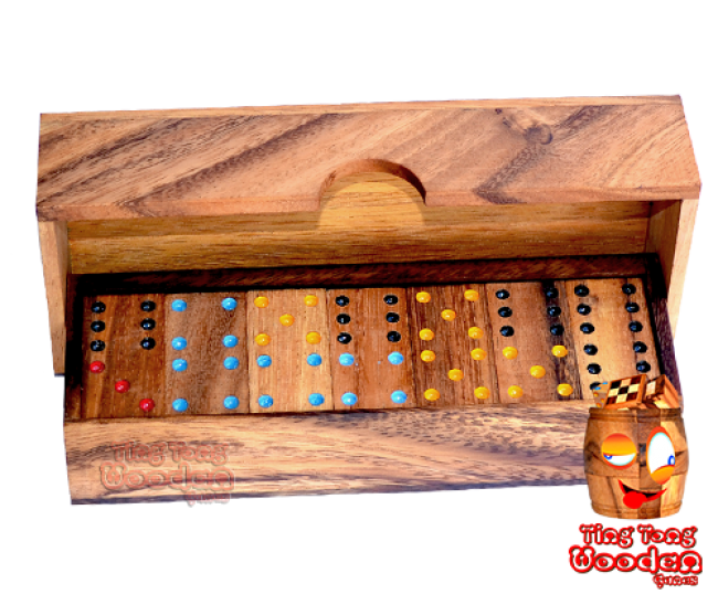 domino 6 in long design wooden box from monkey pod wooden games Thailand