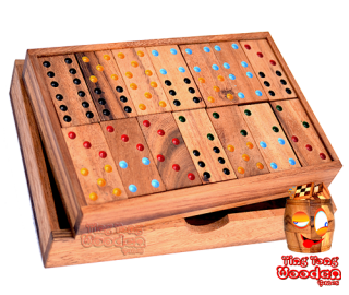 domino box 6 wooden box with 28 dominoes monkey pod board game wooden games Thailand