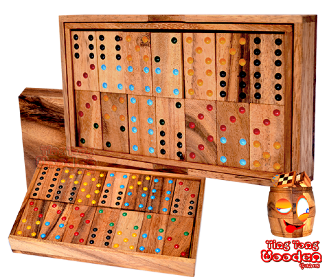 domino box 6 domino game with 28 wooden samanea dominoes wooden games Thailand