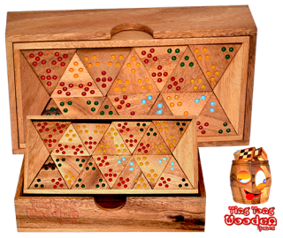 triomino tri domino with colored dots as numbers wooden board game wooden games Thailand