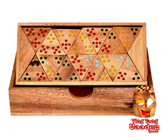 triomino tri domino with colored dots monkey pod wooden board game wooden games Thailand