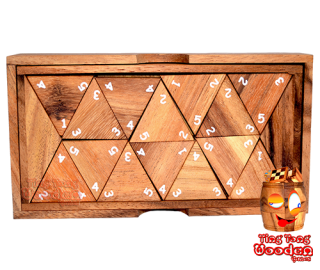 triomino number triomino wooden box with wooden numbers samanea triangle domino wooden game Thailand