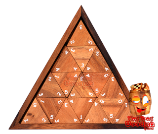 triomino triangle with numbers in design triangular wooden box with 56 wooden dominoes monkey pod games thailand