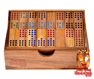 domino 12 family box domino with 96 wooden dominoes monkey pod wooden game Thailand