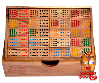 domino 15 wooden box placement game with 136 pieces from monkey pod thai wooden games