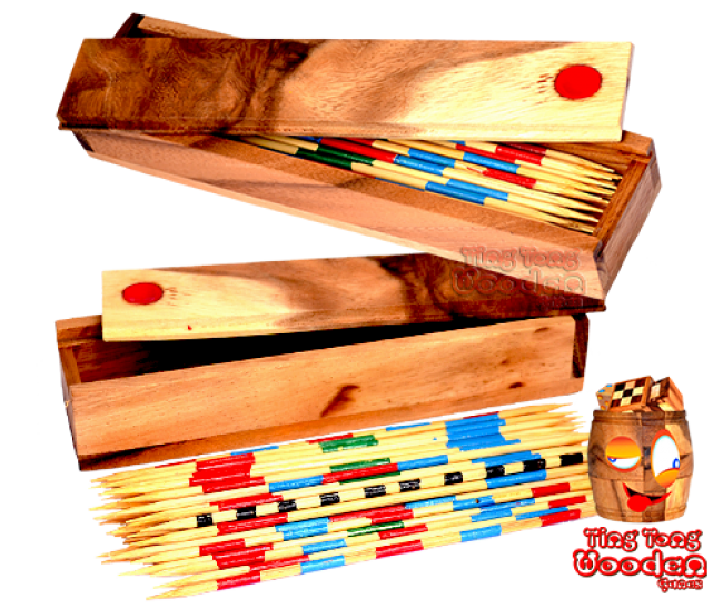 Mikado or Pick Up Sticks an exciting wooden skill game samanea wooden games thailand