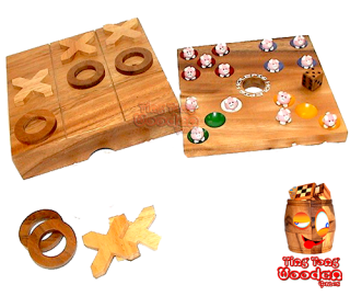 pig hole big hole game collection with tic tac toe strategy monkey pod thai wooden games