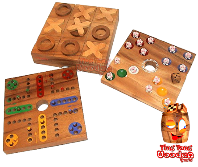pig hole dice game big hole collection with tic tac toe and ludo samanea thai wooden games