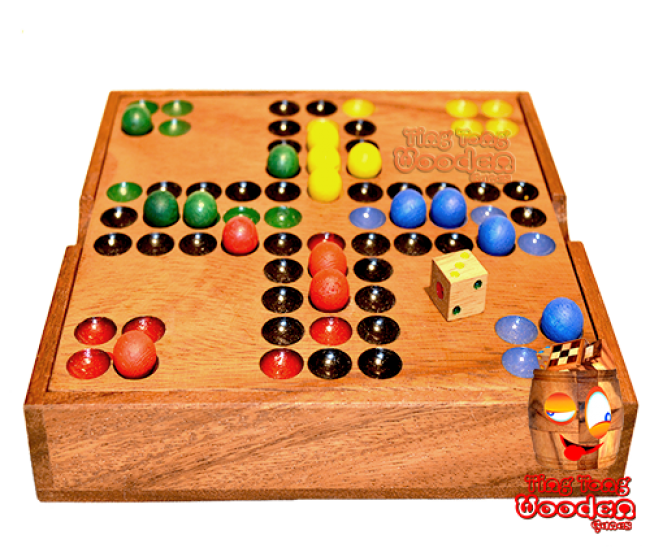 Ludjamgo dice game in wooden box with wooden balls Monkey pod wooden games Thailand