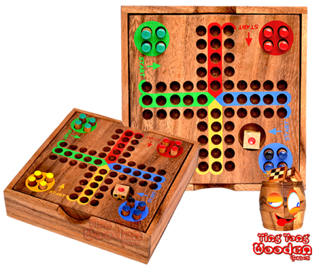 ludjamgo dice game in small wooden box for traveling monkey pod game thailand