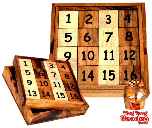 No diligence no price Slide 15 game with 15 numbers from Monkey Pod thai wooden games