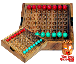 Thai Checker Strategiespiel in Holzbox Monkey Pod Thai wooden games
