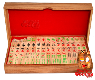 Mahjong chinese strategy game in wooden box with domino game pieces from monkey pod wood wooden games Thailand