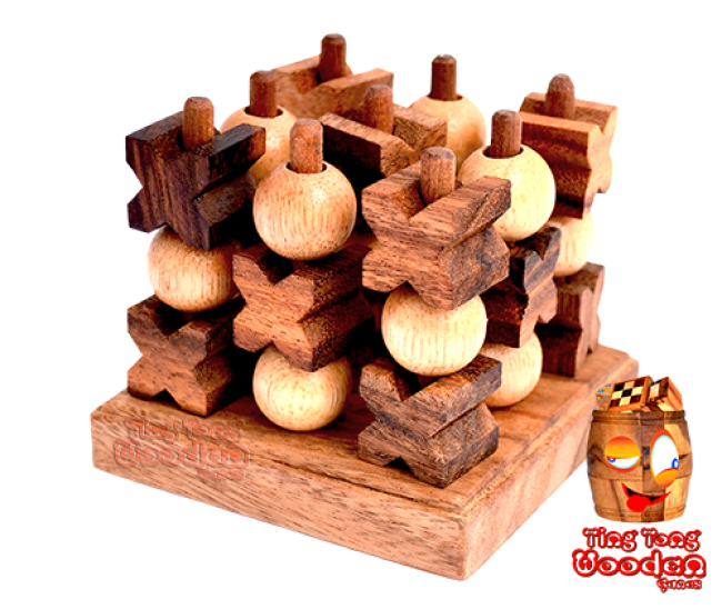 3D Tic Tac Toe small the XO strategy game in 3D as a wooden game wooden games thailand