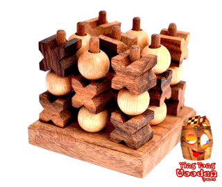 3D Tic Tac Toe small das XO Strategiespiel in 3D als Holzspiel wooden games thailand