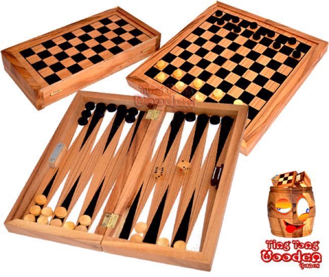 backgammon and checkers in a large wooden box from monkey pod thai wooden games