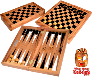Backgammon und Damespiel in einer large Holzbox aus Monkey Pod Thai wooden games