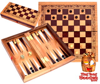 Backgammon und Damespiel in einer medium Holzbox aus Monkey Pod Thai wooden games