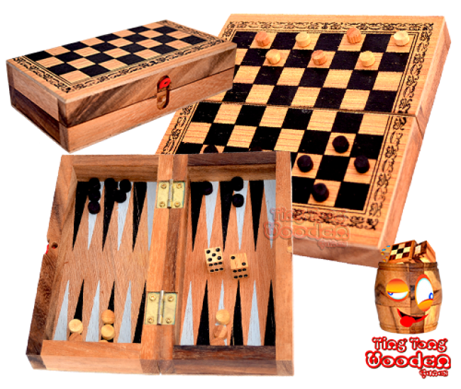 backgammon and checkers in a wooden box from monkey pod thai wooden games