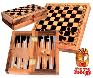 Backgammon und Damespiel in einer Holzbox aus Monkey Pod Thai wooden games