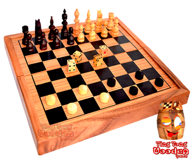 Backgammon, chess and checkers game collection in wooden box from monkey pod thai wooden games