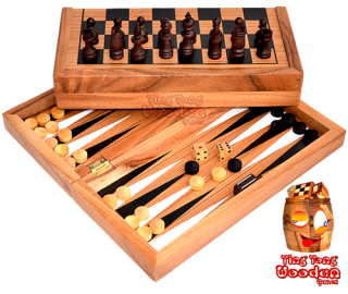 Backgammon, chess and checkers as game collection in monkey pod wooden box  wooden games Thailand