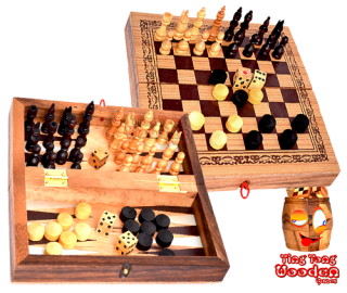 Backgammon, chess and checkers in a medium wooden box game collection from monkey pod thai wooden games