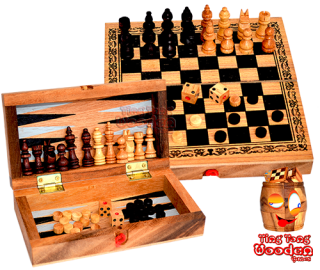 Backgammon, chess and checkers in a small wooden box game collection from monkey pod thai wooden games