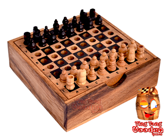 Chess box small with real wooden mini chess figure monkey pod wooden games Thailand