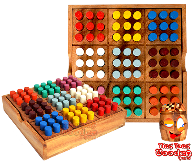 Colored sudoku colour sudoku 9x9 in einer wooden box aus monkey pod thai wooden games