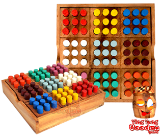 Colored Sudoku Farb Sudoku 9x9 in einer Holz Box aus Monkey Pod Thai wooden games