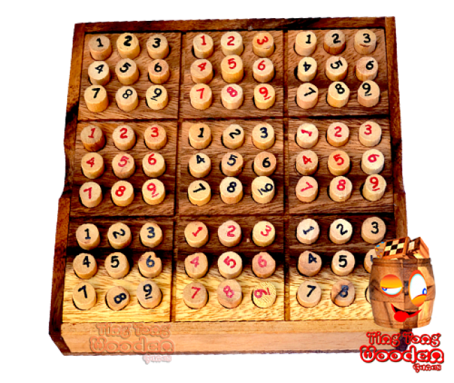 Sudoku 9x9 wooden box with plugs red and black wood sudoku monkey pod wooden games thailand