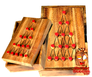 Last fighter solitaire large strategy game wooden box from monkey pod wooden games thailand