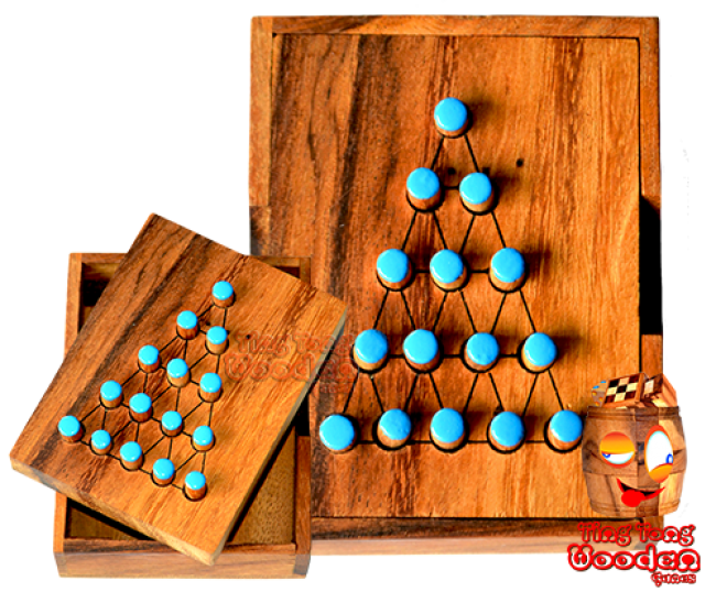 Last fighter solitaire small strategy game wooden box from monkey pod wooden games thailand