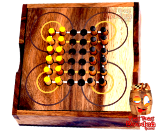 Surakarta Roundabout game as wooden box with wooden plugs for travel Monkey Pod thai wooden games