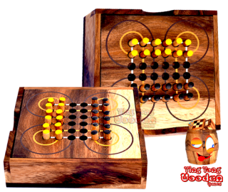 Surakarta Roundabout Game as wooden box with wooden plugs for travel Monkey Pod wooden games Thailand