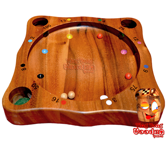 Tiroler roulette tyrolean roulette twister roulette, spinning top and sphere game monkey pod wooden games thailand